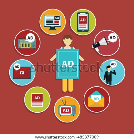Shutterstock Advertising design concept set media and guerrilla marketing flat icons isolated vector illustration.