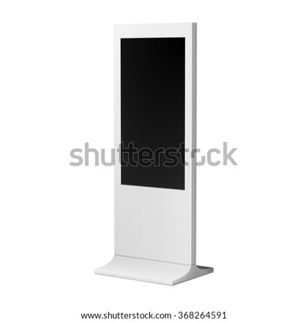 Advertising display stand or kiosk, vertical white for indoor and outdoor use.