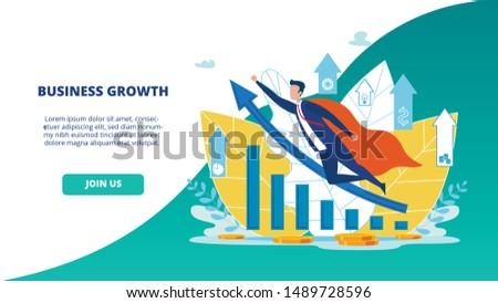 Advertising Flyer Business Growth Landing Page. Selection Expert Opinions, Instructions and Tips. Man in Super Hero Costume Flies in Direction Blue Arrow. Strategy Increase Results.