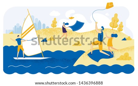 Advertising Flyer Fun in Summer Windy Weather. Sailing Windy Weather. Father with his Daughter Runs Snake Sky. Man Rides Sailboat on Sea Waves. Vector Illustration on White Background.