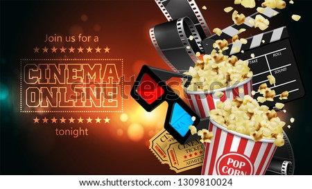 Advertising for the film industry. Film, popcorn, glasses and tickets  on a reflective surface. 3D vector. High detailed realistic illustration