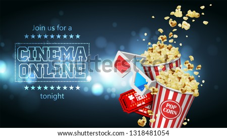 Advertising for the film industry. Popcorn, glasses and tickets  on a background with highlights. 3D vector. High detailed realistic illustration