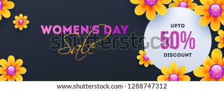 Advertising header or banner design with decorative flowers and 50% discount offer for Women's Day Sale. #1288747312