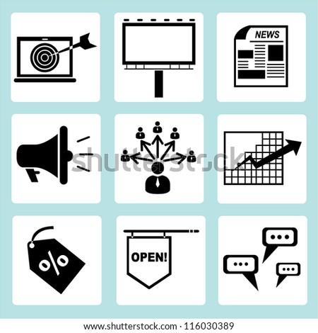 advertising icon set, marketing icon sign - stock vector