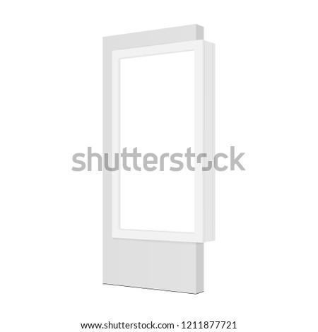 Advertising lightbox for shopping mall - half side view. Street signage advertising billboard isolated on white background. Vector illustration #1211877721