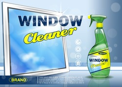 Advertising means for cleaning windows. Realistic image
