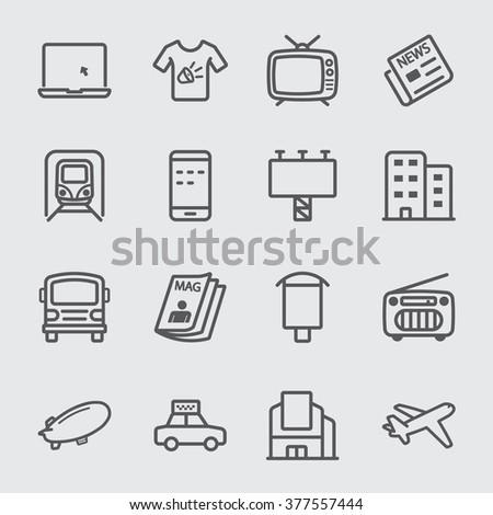 Advertising media line icon