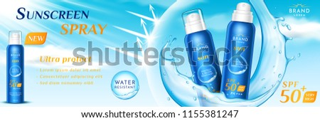 Advertising of sunscreen spray for skincare. Product packaging for sunblock realistic aerosol or 3d dispenser for suntan. Branding with water splatter. Ads and beach, pack and sunburn theme