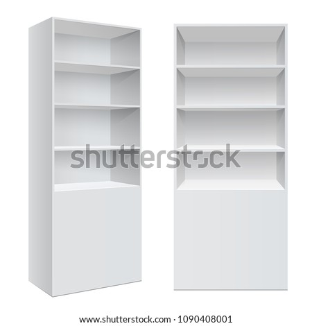 Advertising POS POI Display Rack Shelves For Supermarket Floor Showcase on the white background. front view. Slender white shelves. Mock Up Template. Vector illustration.