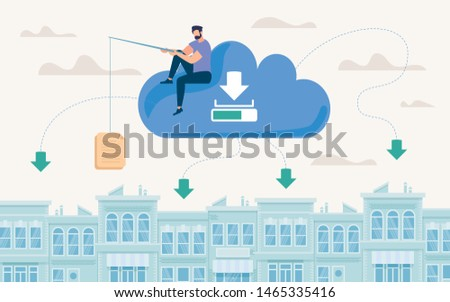 Advertising Poster Document Storage in Cloud. Flat Banner Conceptual Idea Methods and Ways Storing Large Documents. Man Sits on Cloud and Raises up Document Cartoon. Vector Illustration.