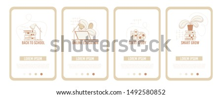 Advertising Poster Set Flyers for Training, Flat. Back to School. Smart Grow. Start Study. Online Education. Subjects for Effective Study. Necessary Things for Training. Vector Illustration.