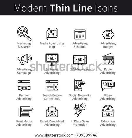 Advertising, promotion media channels, marketing campaign symbols. Online, radio, television commercials, print, outdoor ads. Modern thin line art icons. Linear style illustrations isolated on white.