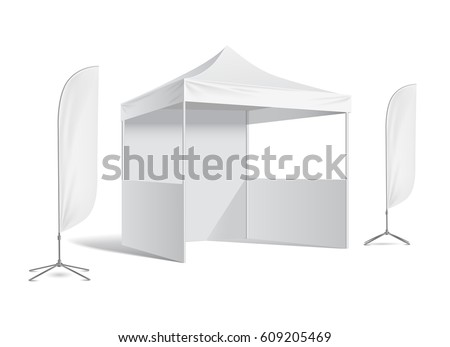 Advertising promotional outdoor mobile tent .Outdoor Feather Flag. Mock up blank template. Illustration isolated on white background vector - Shutterstock ID 609205469