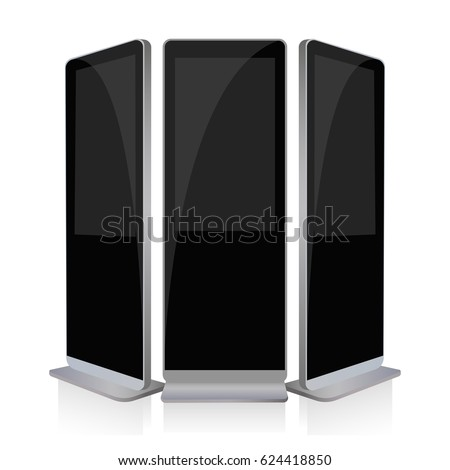 Advertising screen mockup isolated. LCD high defintion digital signage. Display monitors. Multimedia stands. Vector illustration