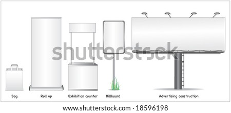 ADVERTISING SPACE MOCK UP. Roll up, sign, exaction. Vector illustration file.