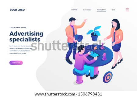 Advertising specialists isometric landing page template. PR agency workers, colleagues discussing projects. Adverts creation experts. Creative mass media industry career website page design layout