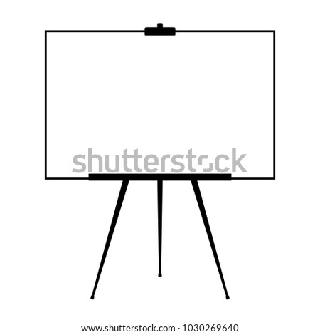 Advertising stand or flip chart or blank artist easel isolated on white background. Presentation blank white board for conference. Vector illustration. Presentation board