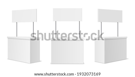Advertising stands. Realistic blank modern simple rack or counters multiple camera angles, 3d promotional desk with sign top, clean empty promo tables with signboard white mockup. Vector isolated set