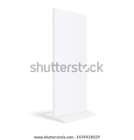 Advertising totem mockup  blank billboard isolated on white background - 3D perspective side view. Vector illustration