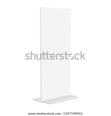 Advertising totem mockup isolated on white background - half side view. Vector illustration