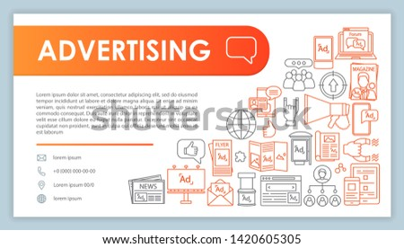 Advertising web banner, business card template. Marketing. Company contact page with phone, email linear icons. Print, display, online ads. Presentation, web page idea. Corporate design layout