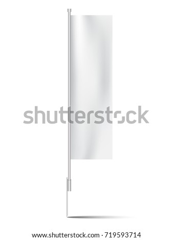 advertising white banner flag with steel chrome ground spike #719593714