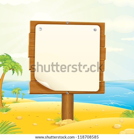 Advertising Wooden Sign with Paper on the Tropic Beach. Vector Illustration.
