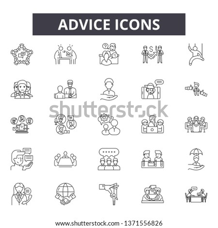 Advice line icons, signs set, vector. Advice outline concept, illustration: advice,internet,information,chat,concept,support,symbol #1371556826