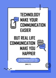 Advice poster for smartphone user. Easy to edit with vector file. Can use for your creative content. Especially about telecommunication day campaign in this may.