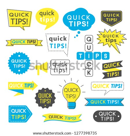 Advice, quick tips, helpful tricks and suggestions logos, emblems and banners isolated on white. Helpful idea, solution and trick illustration for books, magazine, website or typographic materials.