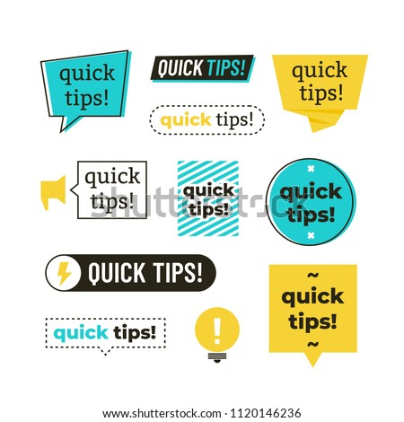 Advice, tip, quick tips, helpful tricks and suggestions vector logos, emblems and banners vector set isolated. Advice and message, badge phrase exclamation illustration