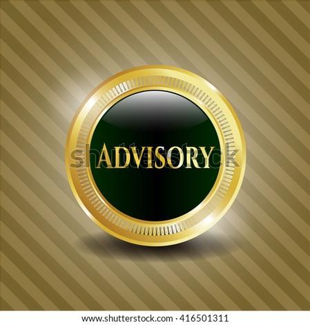 Advisory gold badge or emblem