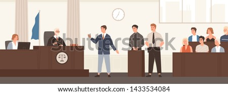 Advocate or barrister giving speech in courtroom in front of judge and jury. Legal defence, public hearing and criminal procedure at court or tribunal. Flat cartoon colorful vector illustration.