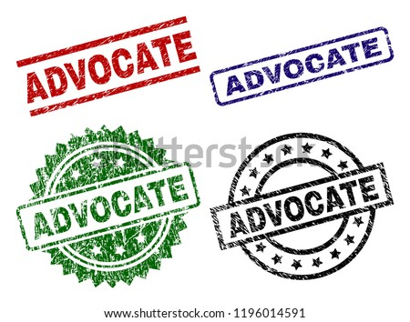 ADVOCATE seal prints with corroded surface. Black, green,red,blue vector rubber prints of ADVOCATE tag with dust texture. Rubber seals with round, rectangle, rosette shapes.