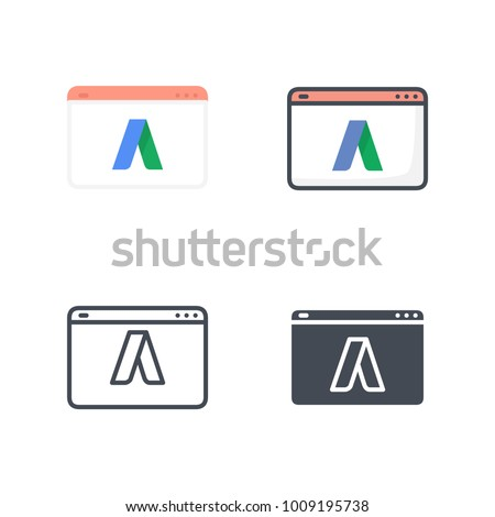 Adwords Flat Colored Line Silhouette Icon Vector