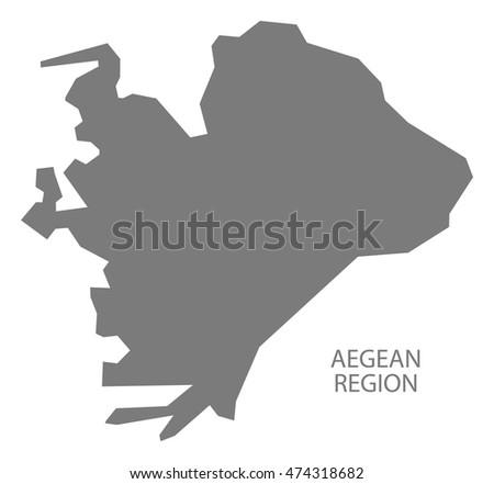 aegean region turkey map grey
