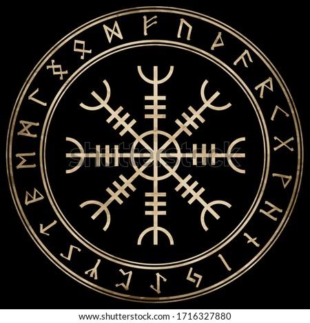 Aegishjalmur, Helm of awe (helm of terror), Icelandic magical staves, isolated on black vector illustration Foto stock ©