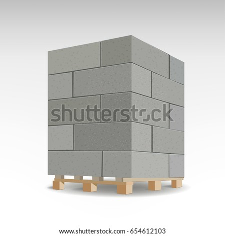 Aerated concrete block, modern building material wall, the air with concrete and lime. Isolated Foam concrete on pallets. vector illustration