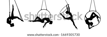 Aerial dancer silhouette vector illustration. Woman or girl performing on hoop. Stock photo ©