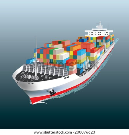 Aerial view of a Cargo vessel. Vector illustration