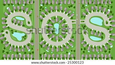 "Aerial view of neighborhood streets that spells out ""SOS"""