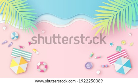 Aerial view of sea beach with beach equipment on sand beach. Aerial view of summer beach. paper cut and craft style. vector, illustration.