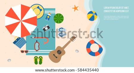 Aerial view of summer beach and sea with parasol, guitar, slippers, snorkel mask , towel, starfish and elements for summertime, flat design vector