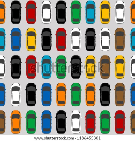 Aerial view parking with lots of multicolored cars