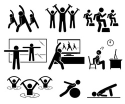 Aerobic class at gym room with instructor. Beginner learning aerobic at home by watching TV and Internet video. Aqua aerobic exercise at swimming pool. Illustrations in stick figures pictogram.