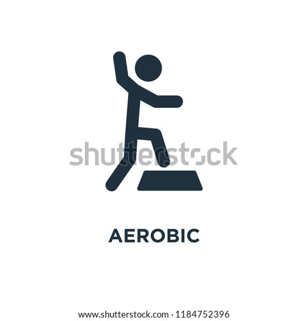 Aerobic icon. Black filled vector illustration. Aerobic symbol on white background. Can be used in web and mobile.