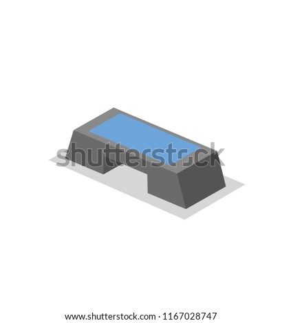 Aerobic Stepper, training stand for the gym. Fitness equipment isometric illustration. Flat vector illustration. Isolated on white background.