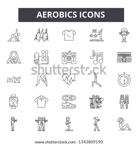 Aerobics line icons. Editable stroke signs. Concept icons: gym, fitness, workout, training, exercise class, body fit etc. Aerobics  outline illustrations