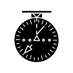 Aeronautical navigational radar black glyph icon. Modern navigation technology for aircrafts. Silhouette symbol on white space. Radio frequency scanner with indicators vector isolated illustration