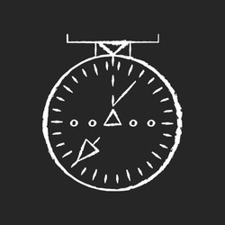 Aeronautical navigational radar chalk white icon on black background. Modern navigation technology for aircrafts.. Radio frequency scanner with indicators isolated vector chalkboard illustration